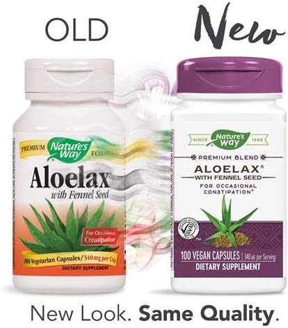Natures Way AloeLax, 340 milligrams, 100 Vegatarian Capsules. Pack of 5 Bottles