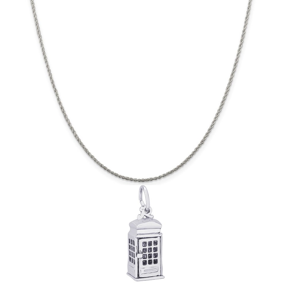 Box or Curb Chain Necklace 18 or 20 inch Rope Rembrandt Charms Sterling Silver Phone Booth Charm on a 16