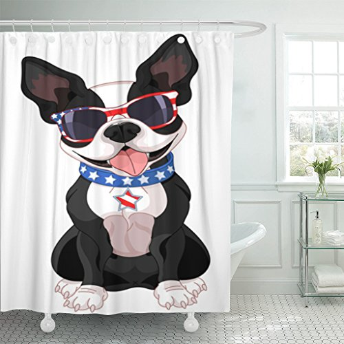 TOMPOP Shower Curtain 4Th of Cute Boston Terrier Celebrating July Dog Waterproof Polyester Fabric 72 x 72 inches Set with Hooks