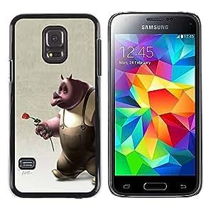 rígido protector delgado Shell Prima Delgada Casa Carcasa Funda Case Bandera Cover Armor para Samsung Galaxy S5 Mini, SM-G800, NOT S5 REGULAR! /Rose 3D Cartoon Character Rose Love/ STRONG