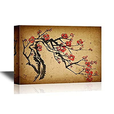 Chinese Culture Canvas Wall Art - Chinese Painting of Plum Blossom - Gallery Wrap Modern Home Art | Ready to Hang - 12x18 inches