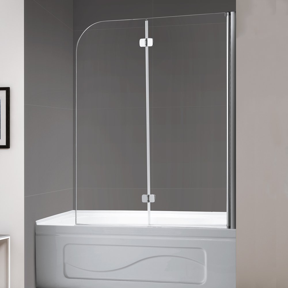 Mellewell Fold 36 in. Width, Frameless Hinged Tub Shower Door Swing Bathtub Screen, 1/4'' Tempered Glass, Brushed Nickel