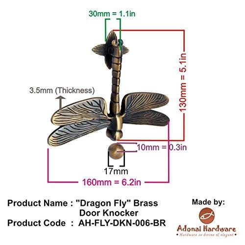 Adonai Hardware Dragon Fly Brass Door Knocker - Dark Bronze