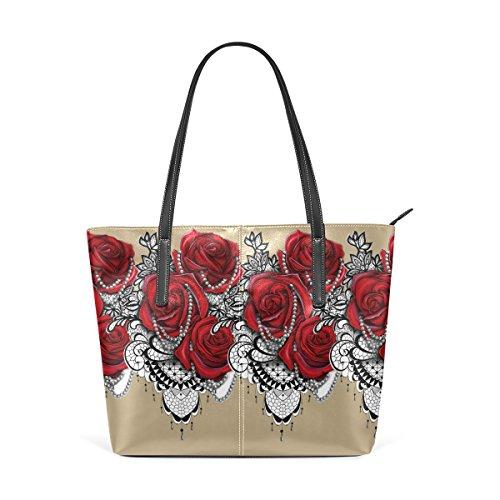Pu Sac Wo Red Tote Main Filles Deyya Femme Roses Les En À Multicolor3 Cuir Pour q0OOt4x5