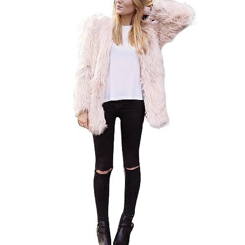 OverDose Nuevas mujeres de las señoras caliente de piel sintética de Fox chaqueta de la capa del invierno Parka Prendas de abrigo