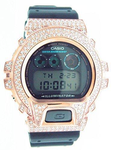 Reloj Casio G Shock Funda de alta calidad CZ blanco rosa de cristal dorado hombre negro cara: Amazon.es: Relojes