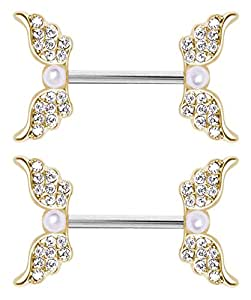 Pair of nipple rings gold gp clear cz pearl for Angel wings nipple piercing jewelry