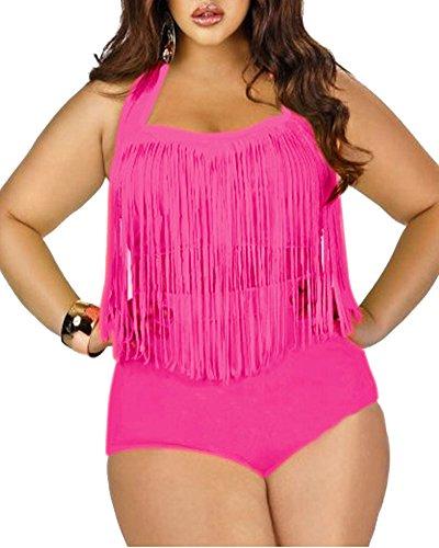 SaiDeng Mujer Elegante Push Up Tassels Oversize Retro Cintura Alta Dos Piezas Bikini Trajes De Baño Rose L