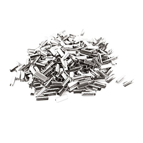 (uxcell Metal DIY Ribbon Ends Crimp Clip Beads Connector 500PCS Silver Tone)