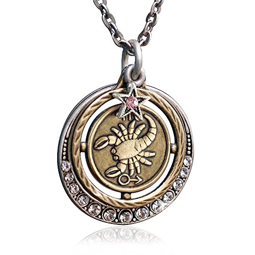Sweet Romance Scorpio Zodiac Sign Astrology Pendant Necklace - October and November Birthday ()