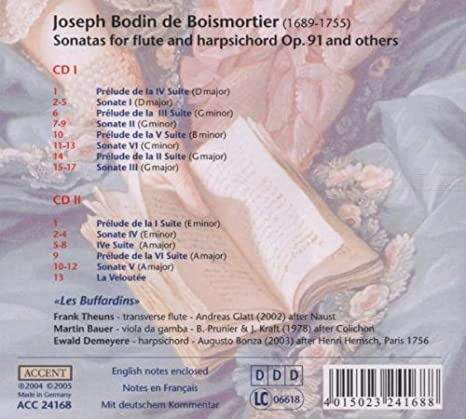 BOISMORTIER JOSEPH BODIN DE - Six Suites de Pieces Pour Une Flute Traversiere - Amazon.com Music