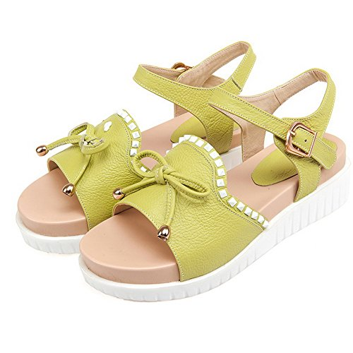 WeenFashion Assorted Toe Material Sandals Kitten Women's Buckle Heels Cyan Color Soft Open SxSTgwOr