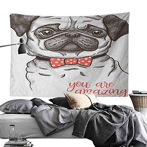 MaureenAustin Apartment Decor Tapestry,Pug,Portrait of Dog Cartoon Style Bow Tie on a Pug Pet Fun Comedic Image Fashionable Animal, Black Red Print for Living Room Bedroom Dorm60 x80