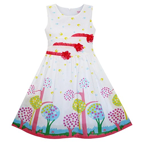 Sunny Fashion Little Girls' Dress Sleeveless Tree Bird Flying Print Flower, Red, - Fashion Sunnies