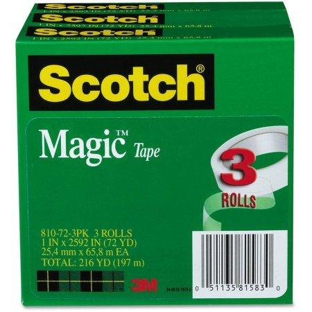 Scotch Magic Tape Refill 1 Inch x 2592 Inches - 3 Inch Core (Pack of 3)