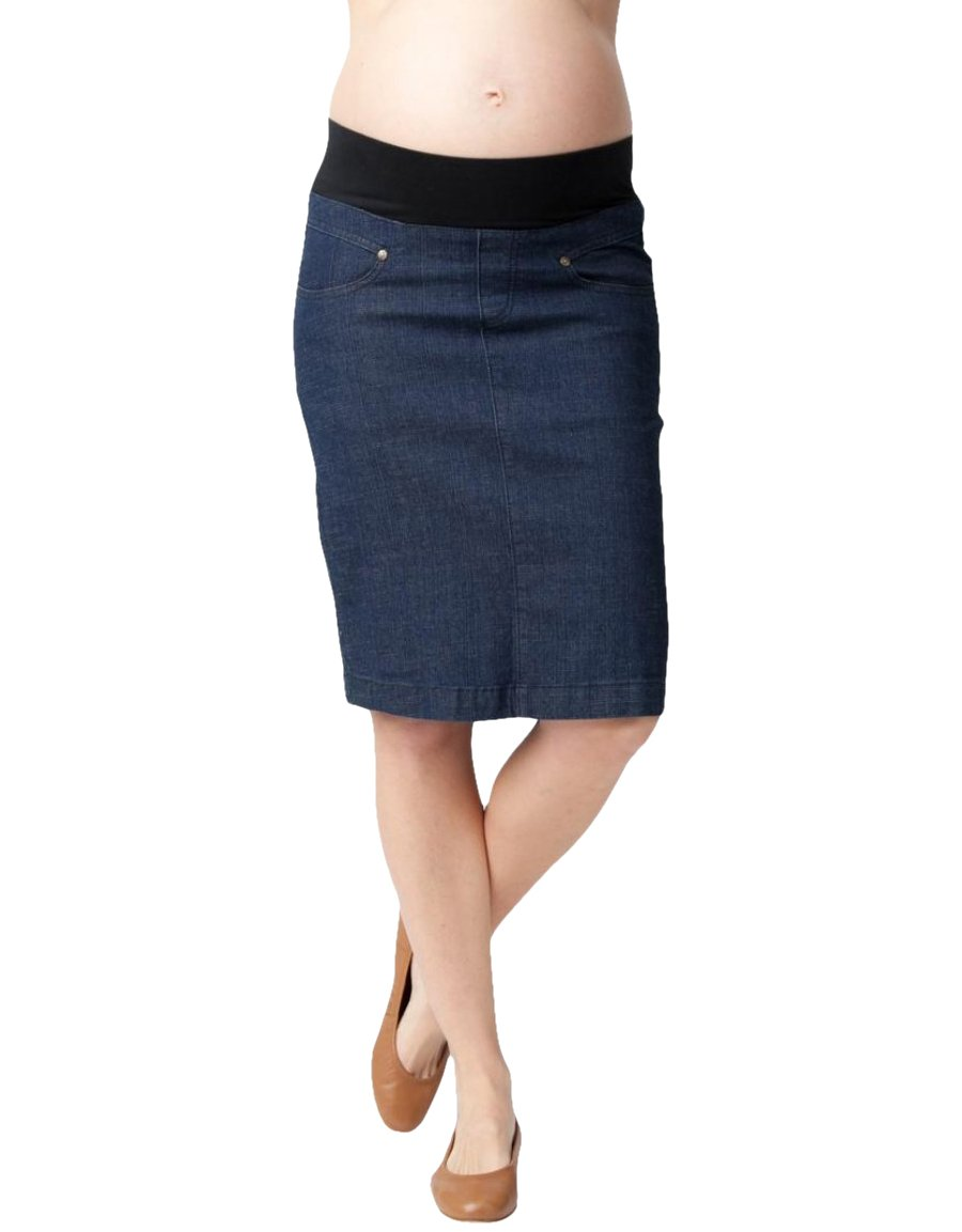 Ripe Maternity Women's Maternity Skylar Denim Pencil Skirt, Ink, Large