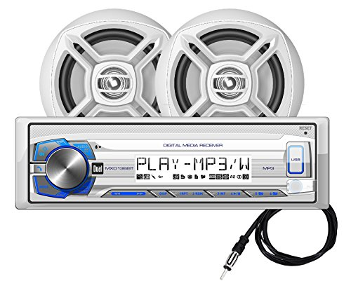 Dual MCP136BT Marine Digital Media Receiver with Bluetooth, Includes a Pair of 6.5-Inch (Dual Marine Radios For Boats)