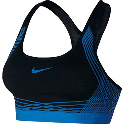 NIKE Women's Pro Hyper Classic Padded Sports Bra-Black/Photo Blue-XS