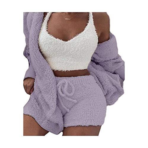 Famnbro Womens Fuzzy Warm 3 Piece Outfit Fleece Hooded Coat Outwear and Tank Top High Waist Shorts Set