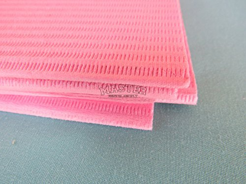 Disposable Patient Bibs Dental Tissue Tattoo Towels 50 Pcs PINK Color 2 + 1 Ply Poly Waterproof 13'' X 18''