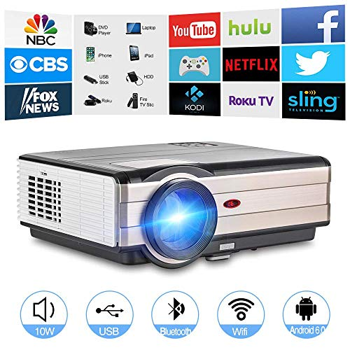 Wireless Bluetooth WiFi HDMI Projector 4200 Lumens 1080P Smart Multimedia Home Theater Cinema 2019 Android 6.0 LCD LED Video Projector Outdoor Proyector for TV Stick PC Laptop USB Driver PS4 Wii Xbox