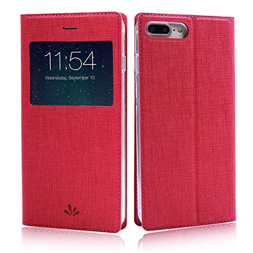 Feitenn iPhone 7 plus case Premium Leather PU Flip Wallet Case with View Window Stand Kicstand Card Holder Magnetic Closure Clear TPU Slim Leather Case for iphone 7 plus (China Red)