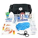LINE2design Emergency Fire First Responder Kit - Fully Stocked First Aid Rescue Trauma Bag - Professional Lifeguard EMS EMT Paramedic Complete Medical Supplies for Natural Disasters - Black