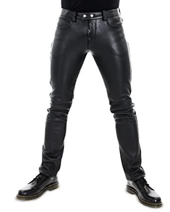 f69bc2d81ab47 Bockle® 501 Aniline Men Leather Trouser Leather Pants Leather Jeans at  Amazon Men s Clothing store