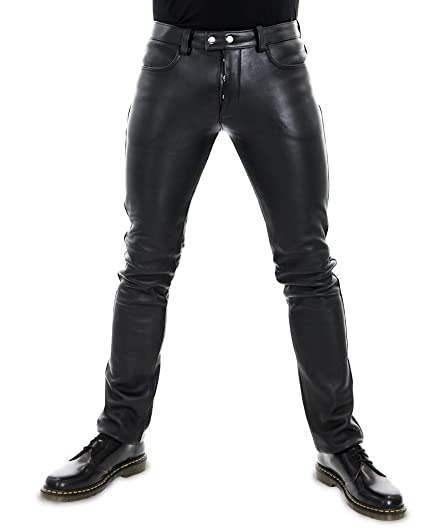 online here fast delivery choose original Bockle® 501 Aniline Lederhose Leather Pants Men Jeans Tube Skinny Slim Fit  Man Black