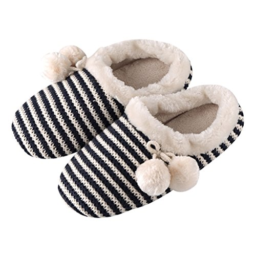 YUTIANHOME Slippers For Ladies Womens Indoor Shoes With Knitted Upper and Pom Poms Blue YDOI3XL7R