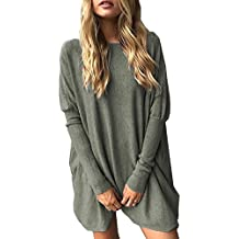 CoCo fashion Women's O-Neck Batwing Blouse Long Sleeve Pullover Tops Oversized Casual T-Shirt