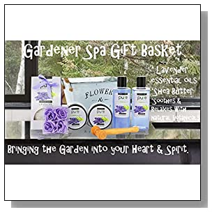 Lavender Essential Oil Aromatherapy Mothers Day Spa Basket. Premium Gift Baskets for Women for Birthday, Thank You, Anniversary Gift and to Treat Yourself! Gardener Gift Basket!