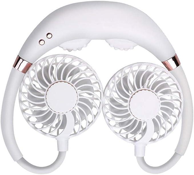 Black BiuBuy LED Light USB Fan Rechargeable Neckband Lazy Neck Hanging Style Dual Cooling Mini Neck Double Fans