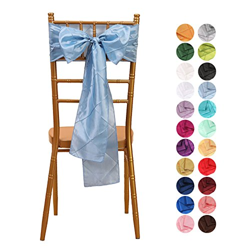 VEEYOO 1 Piece 6x108 inch Pintuck Taffeta Chair Sashes Ribbon Bows Cover for Wedding Party Decoration, Baby Blue -