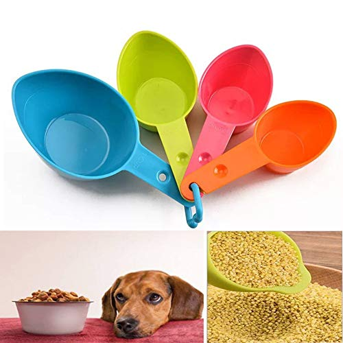 DoubleWood Set of Four Pet Food Scoop, Measuring Cups Spoon Set Plastic Food Scoop for Dog, Cat and Bird Food