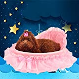 Auwer Luxurious Pet Dog Bed Lace Heart Elegant Teddy Puppy Cat House Soft Warm Removable Cushion Kennel Waterproof Doggy Cave Bag Nest Hiding Kitten Shelter Plush Cozy Mat Pad Blanket (Pink) offers