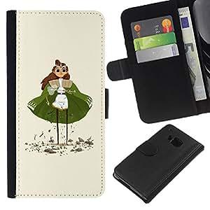 JackGot ( Verde Cabo Princesa Estatuilla Arte de chicas Ojos ) HTC One M7 la tarjeta de Crédito Slots PU Funda de cuero Monedero caso cubierta de piel