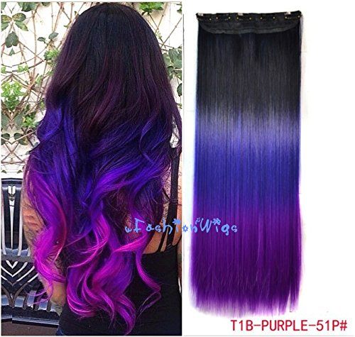 Price comparison product image Black to Purple to Grape Purple Three Colors Ombre Hair Extension, Synthetic Hair Extensions UF204
