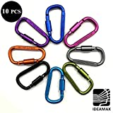 "IDEAMAX 3"" 10 PCS Locking Aluminum Keychain Carabiner Clip D Shape Buckle Pack"