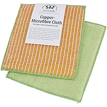 """REDECKER Dual Sided Copper and Microfiber Cleaning Cloth, Set of 5, 7-3/4"""" x 6"""", Non-Abrasive Copper Effectively Scrubs, Absorbent Microfiber Wipes Surfaces Clean, Machine Washable, Made in Germany"""