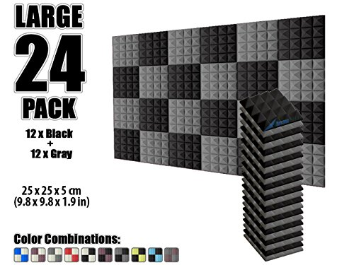 arrowzoom-new-24-pack-of-98-x-98-x-19-inches-black-and-gray-soundproofing-insulation-pyramid-acousti