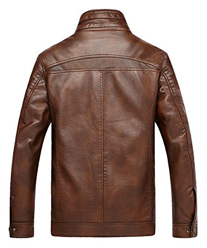 YouzhiWan007 Men's Casual Stand Collar Zip-Up Faux Leather J