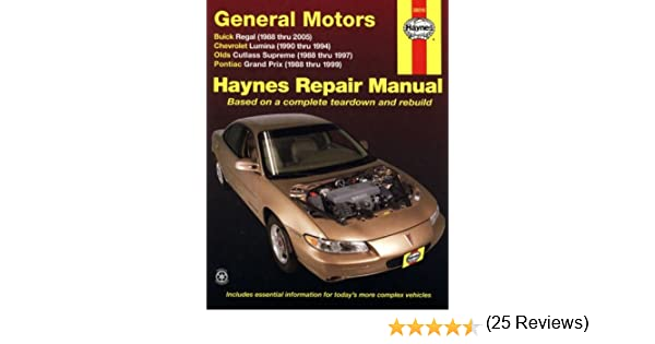 Haynes repair manual general motors buick regal 88 05 chevrolet haynes repair manual general motors buick regal 88 05 chevrolet lumina90 94 olds cutlass supreme 88 97 and pontiac grand prix 88 99 haynes fandeluxe Choice Image