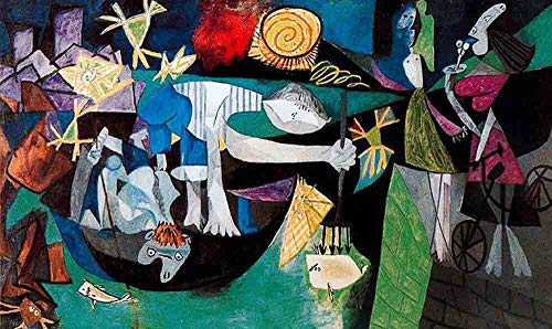 Neron Art Pablo Picasso Night Fishing at Antibes, 1939 - Original Abstract Canvas Paintings Hand Painted Reproduction Rolled - 120X70 cm (Approx. 48X28 inch) for Wall Decoration