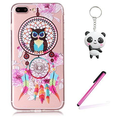 iPhone 7 Plus Coque Chouette Dreamcatcher Premium Gel TPU Souple Silicone Transparent Clair Bumper Protection Housse Arrière Étui Pour Apple iPhone 7 Plus + Deux cadeau