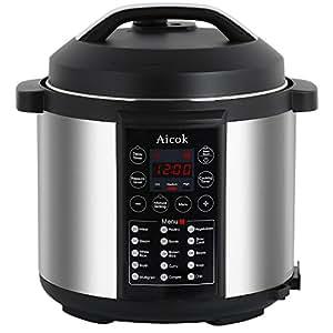 Aicok Olla a Presión Programable, Robot de Cocina, Eléctrica Olla de Cocción Lenta 7 en 1 Multifunción con 15 Programas, Función de mantener caliente y 3 modos configurables de presión, 1000W de Potencia, Capacidad de 6L