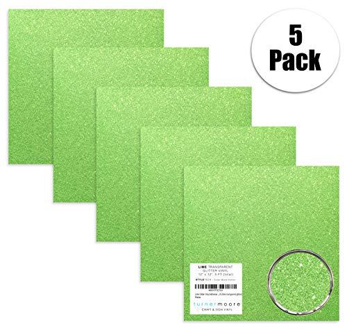 - Turner Moore Edition, Lime Green Glitter Vinyl Adhesive, 12