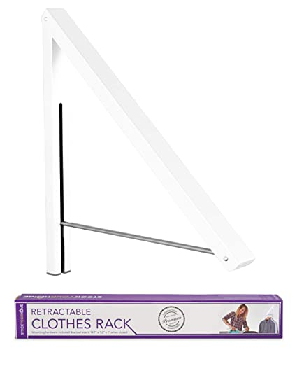 Merveilleux Stock Your Home Folding Clothes Hanger Wall Mounted Retractable Clothes Rack,  Aluminum, Easy Installation