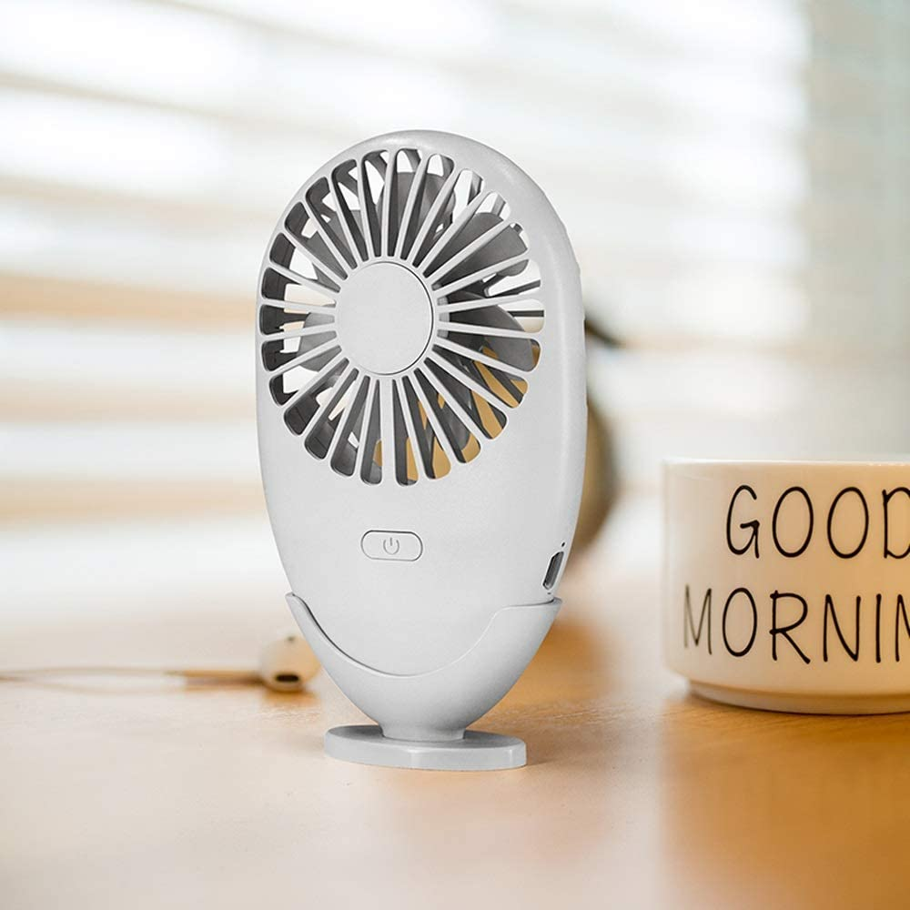 ElevenY ABS with Stand USB Fan Rechargeable Cooling Natural Office Gift Summer Desktop Speed Adjustable Handheld Portable LED Light Mini for Outdoor Home and Travel Girls Adults Summer Artifact