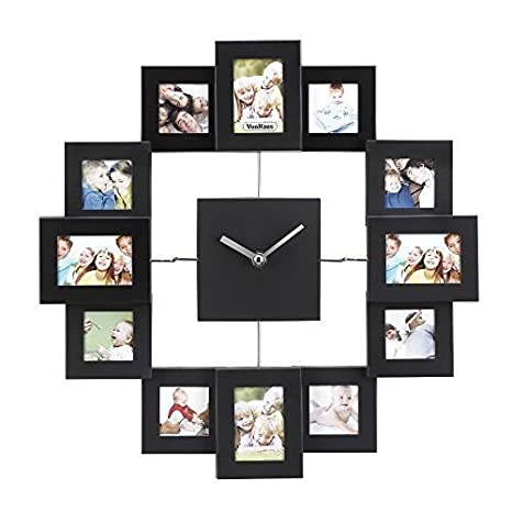 Buy Eselpro Aluminium Wall Clock With 12 Photo Frames Online At Low